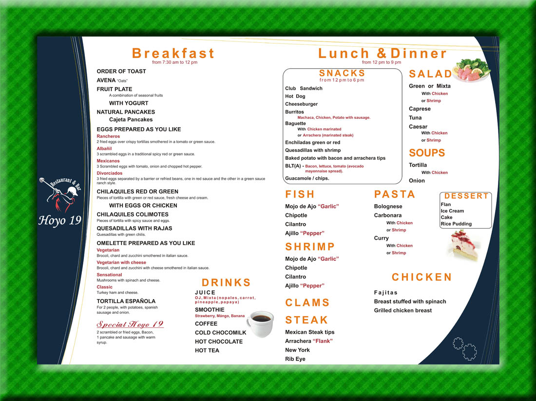 19th Hole Menu